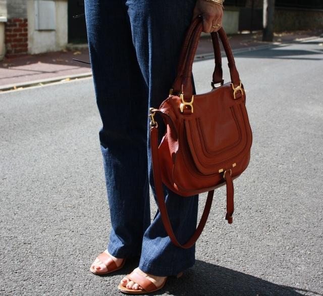 pantalon à ponts + sac chloé