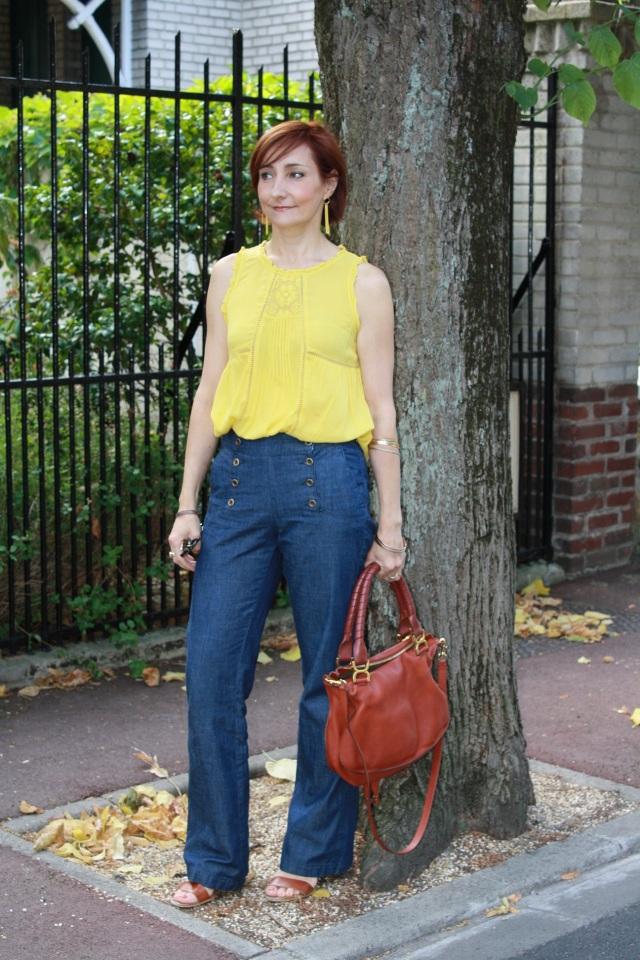 pantalon à ponts + top jaune 4