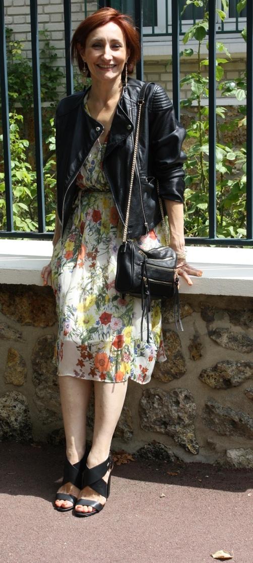 robe romantique et veste biker 5