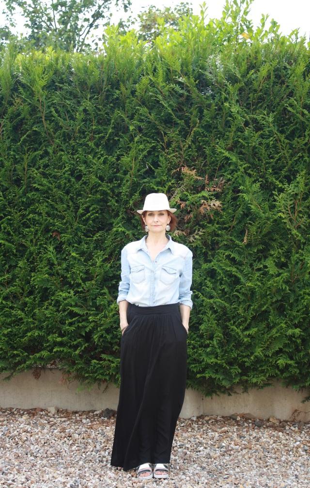 chemise denim_jupe longue noire2